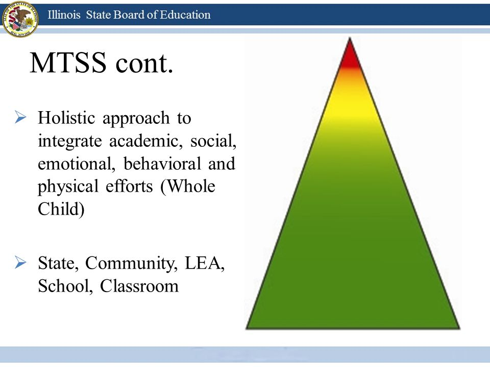 MTSS cont. Holistic approach to integrate academic, social, emotional, behavioral and physical efforts (Whole Child)
