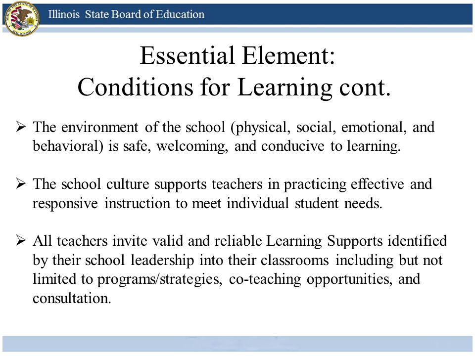 Conditions for Learning cont.
