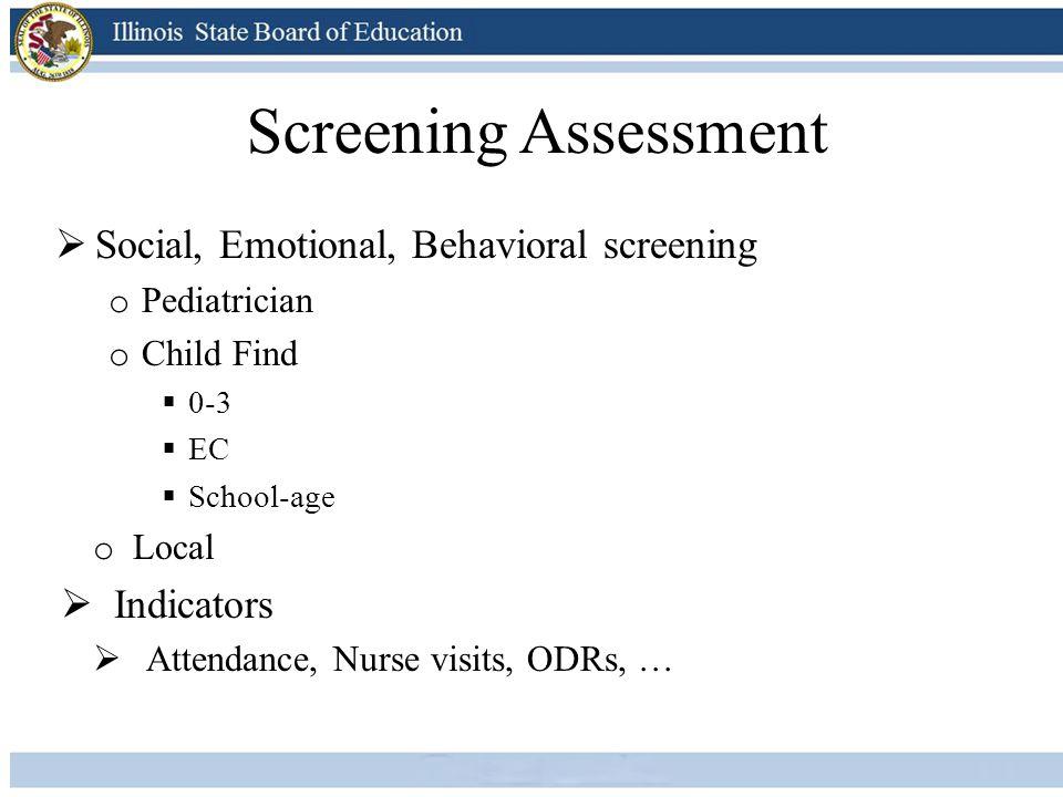 Screening Assessment Social, Emotional, Behavioral screening