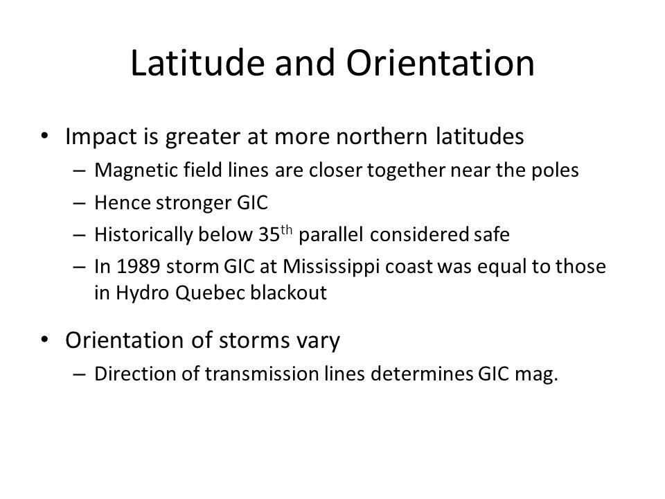 Latitude and Orientation