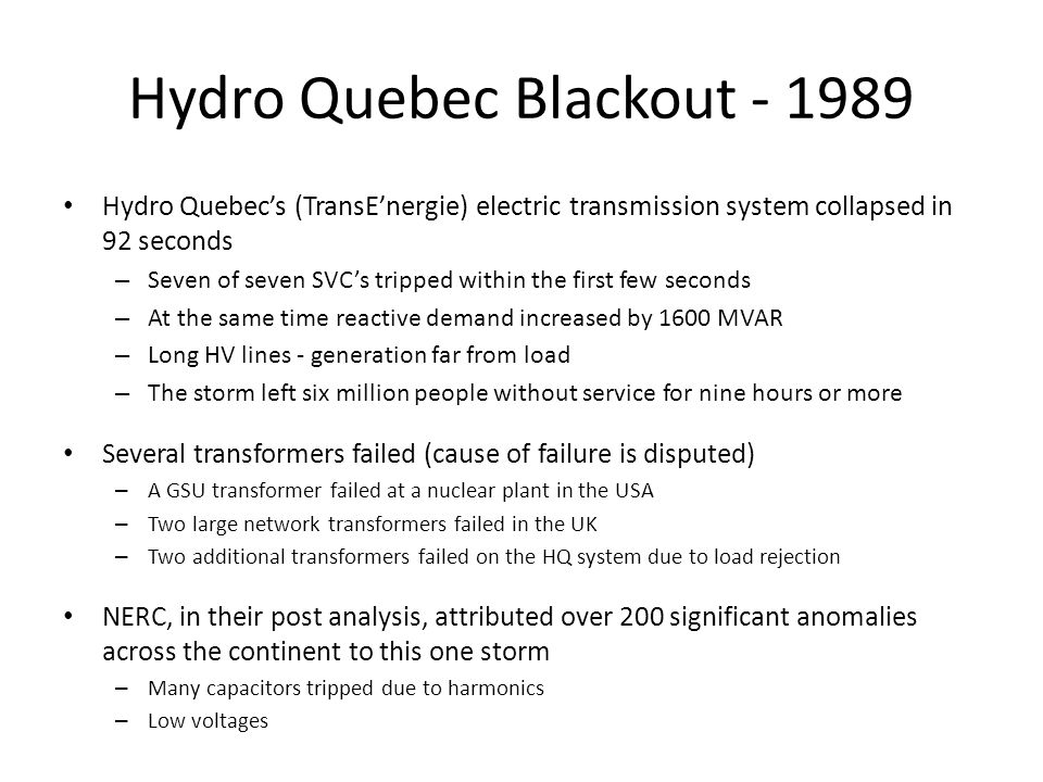 Hydro Quebec Blackout - 1989