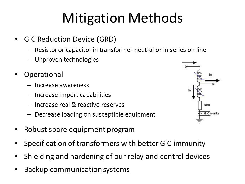 Mitigation Methods GIC Reduction Device (GRD) Operational