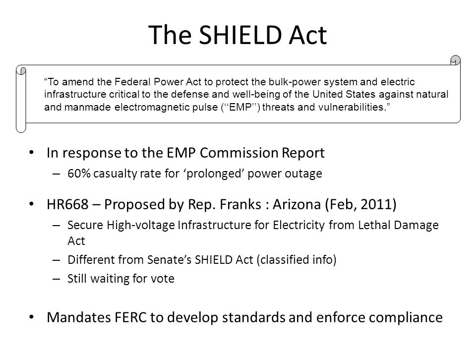 The SHIELD Act In response to the EMP Commission Report