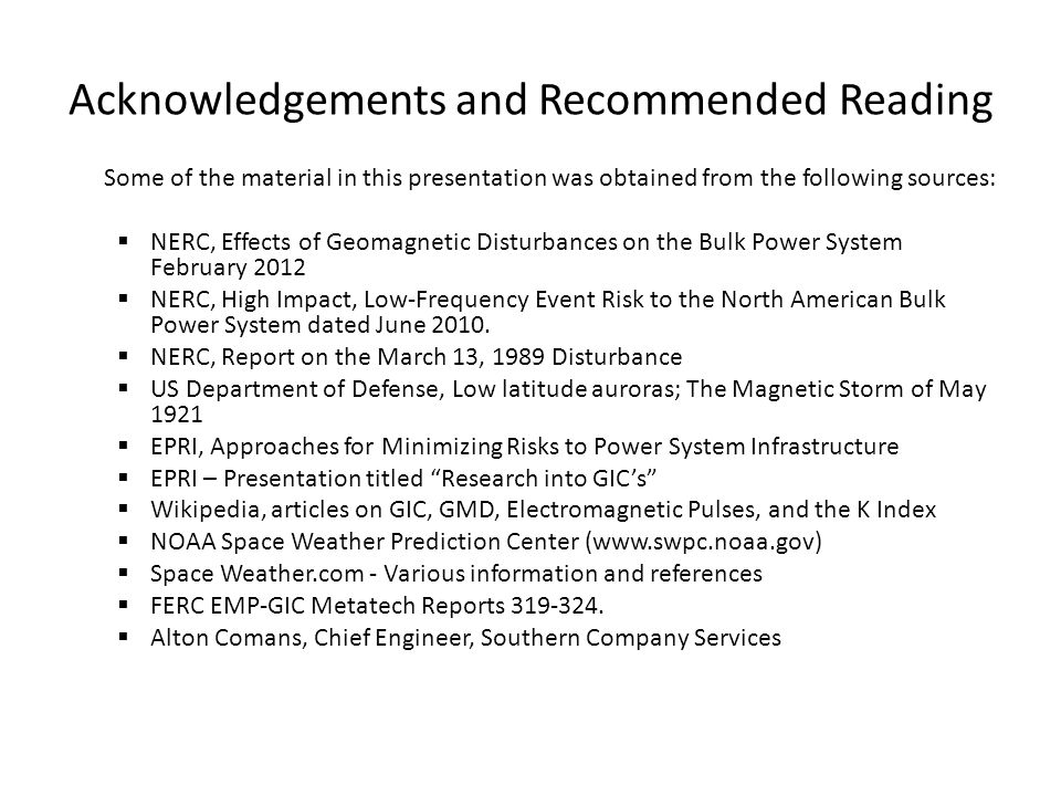 Acknowledgements and Recommended Reading