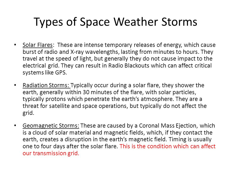Types of Space Weather Storms