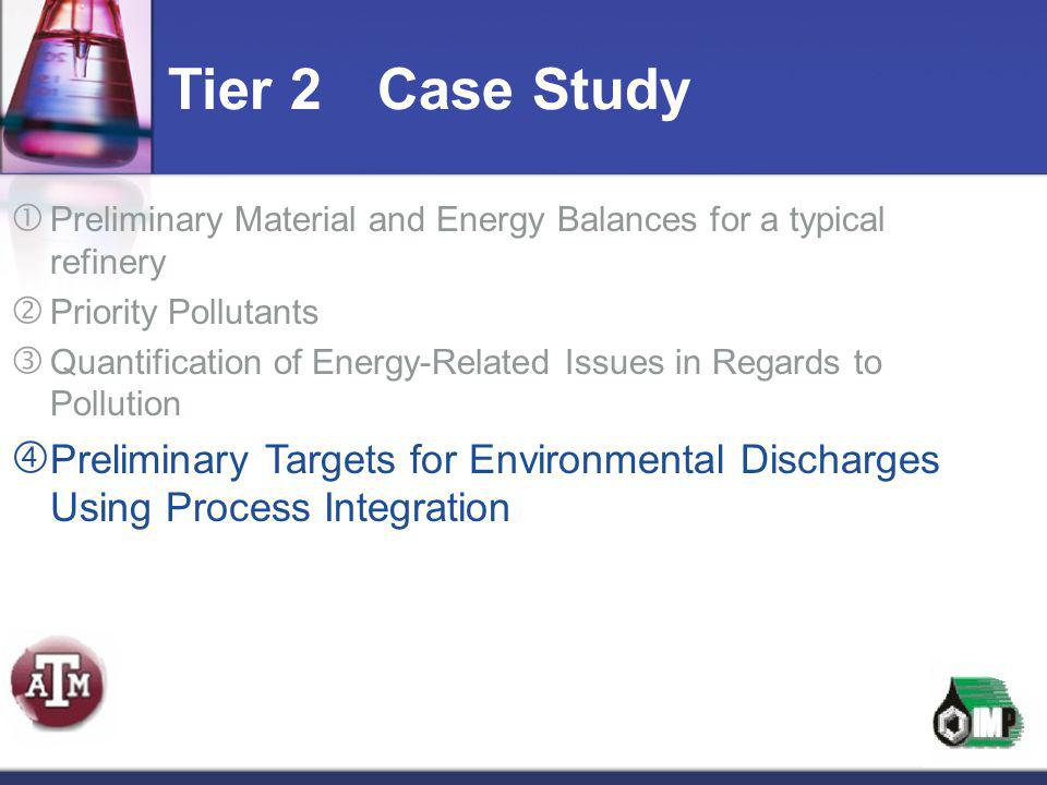 Tier 2 Case Study Preliminary Material and Energy Balances for a typical refinery. Priority Pollutants.
