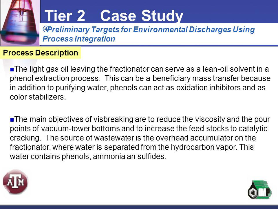 Tier 2 Case Study Preliminary Targets for Environmental Discharges Using Process Integration. Process Description.