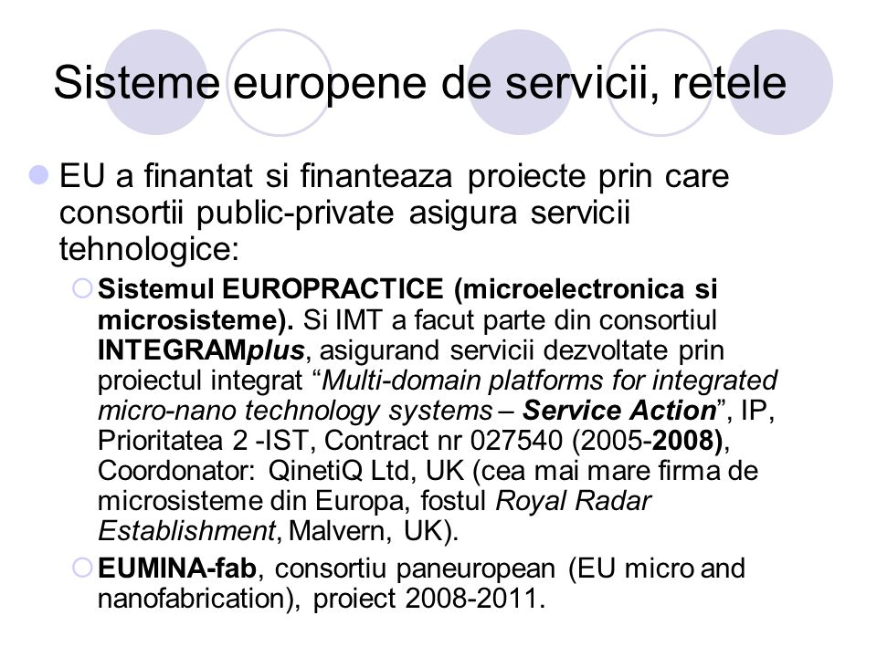 Sisteme europene de servicii, retele