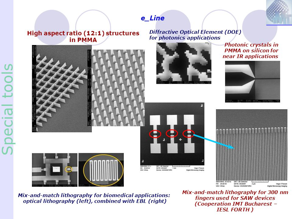 Special tools e_Line High aspect ratio (12:1) structures in PMMA