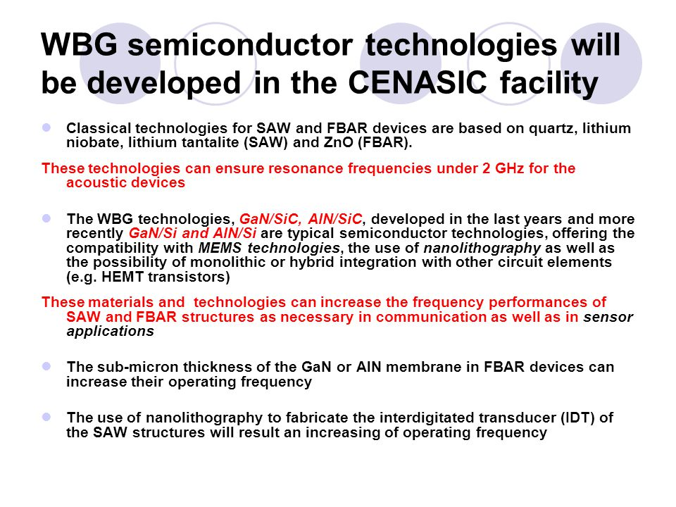WBG semiconductor technologies will be developed in the CENASIC facility