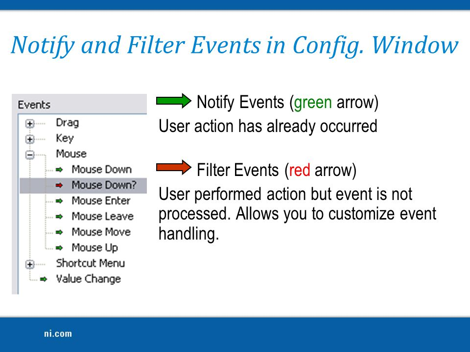 Notify and Filter Events in Config. Window