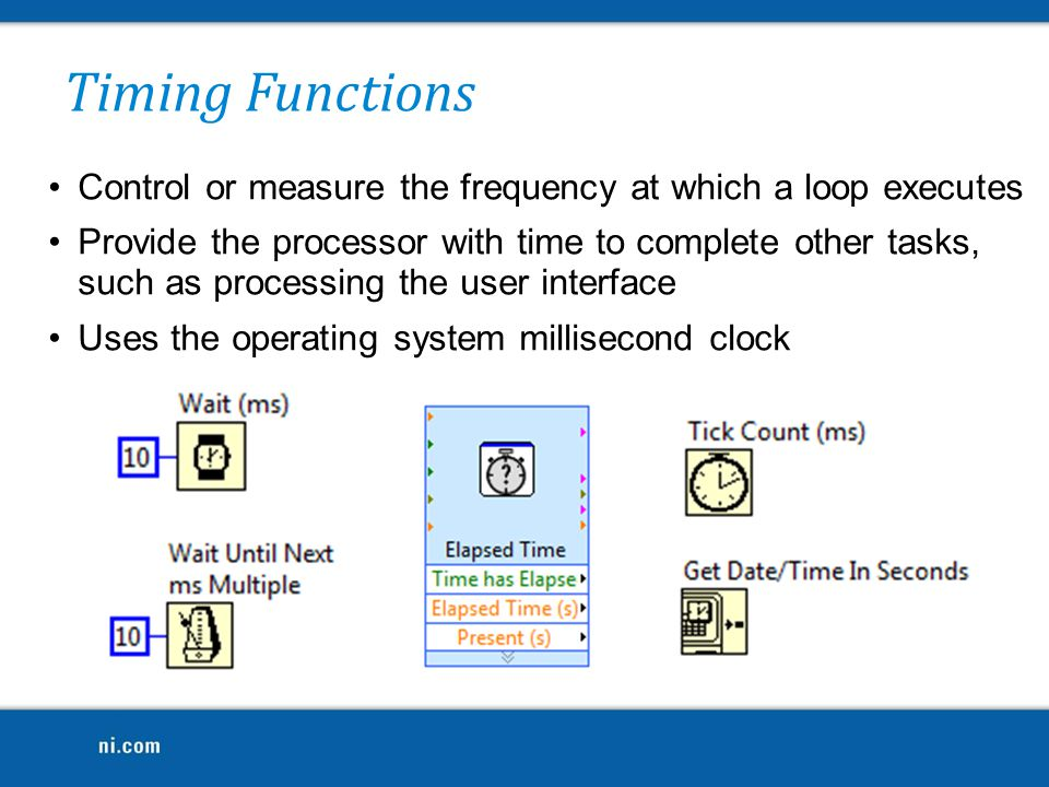 Timing Functions Control or measure the frequency at which a loop executes.