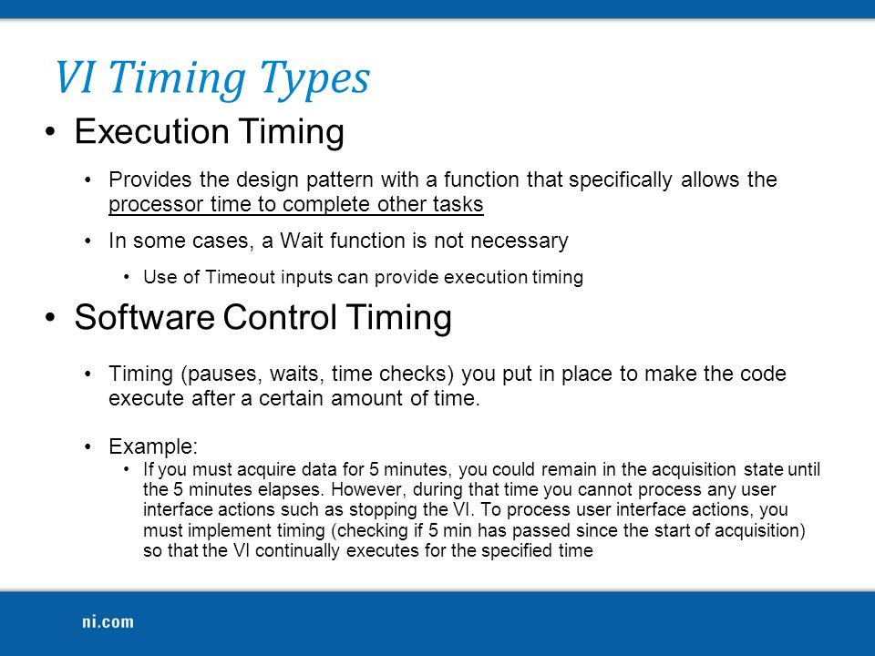 VI Timing Types Execution Timing Software Control Timing