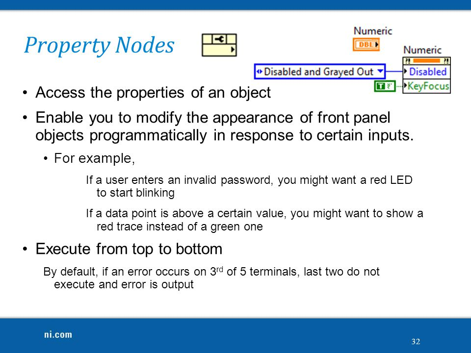 Property Nodes Access the properties of an object