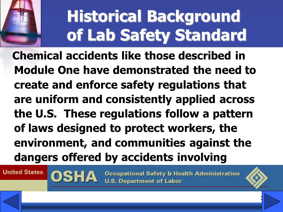 Historical Background of Lab Safety Standard