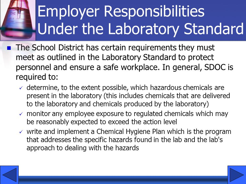 Employer Responsibilities Under the Laboratory Standard