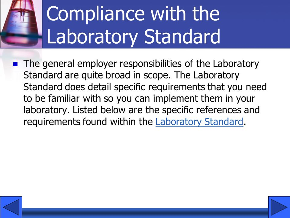 Compliance with the Laboratory Standard