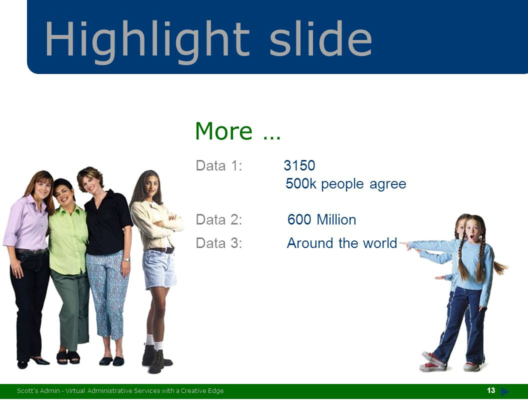 Highlight slide More … Data 1: 3150 500k people agree