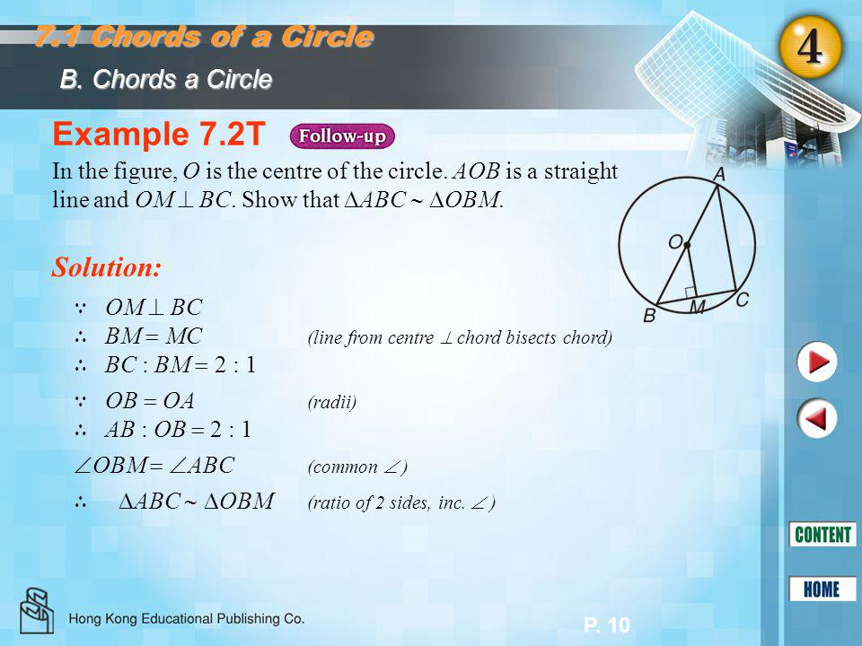 Example 7.2T 7.1 Chords of a Circle Solution: B. Chords a Circle