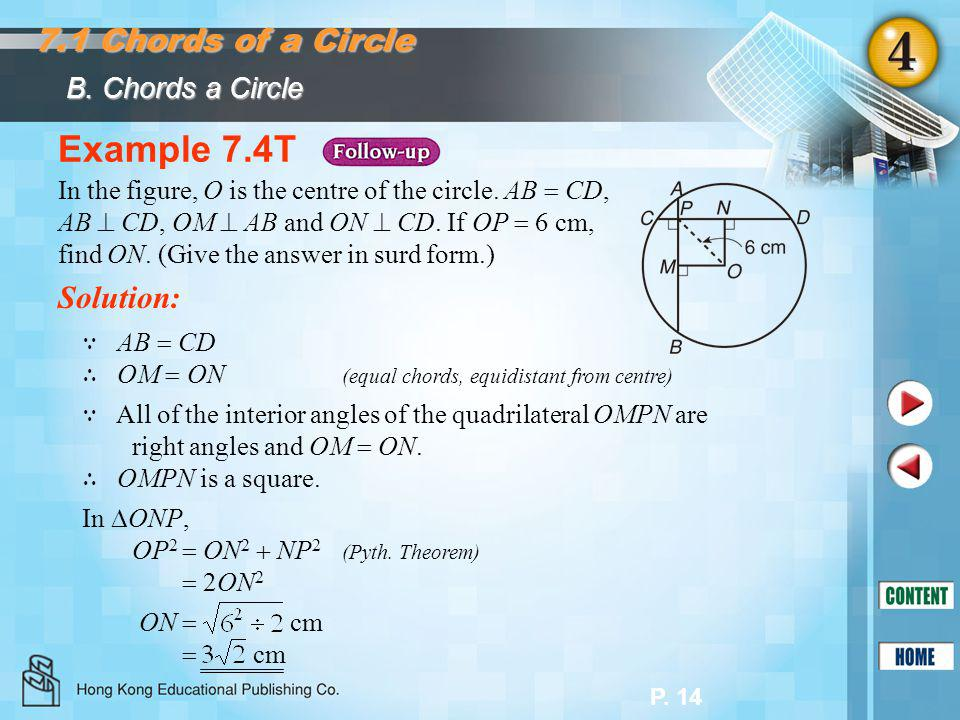 Example 7.4T 7.1 Chords of a Circle Solution: B. Chords a Circle