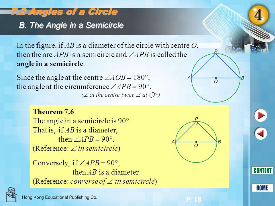 7.2 Angles of a Circle B. The Angle in a Semicircle