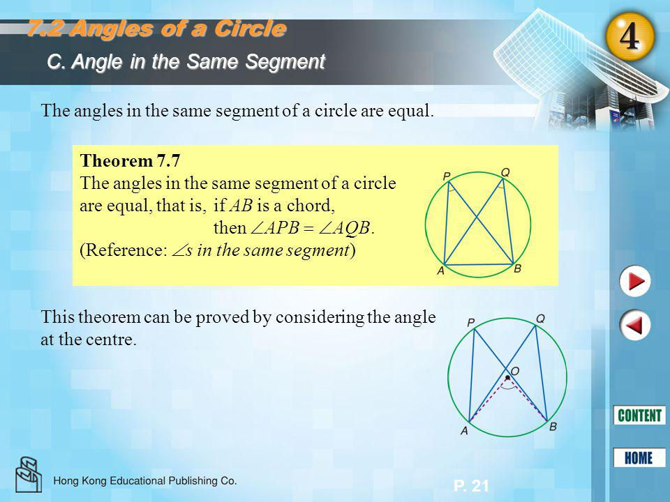 7.2 Angles of a Circle C. Angle in the Same Segment