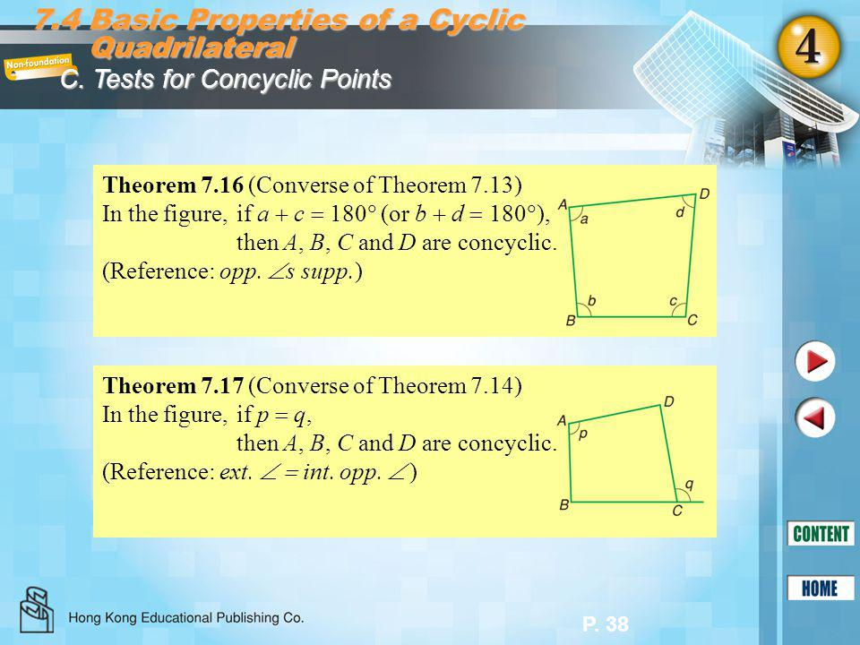 7.4 Basic Properties of a Cyclic Quadrilateral