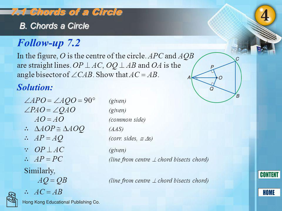 Follow-up 7.2 7.1 Chords of a Circle Solution: B. Chords a Circle