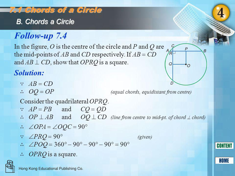 Follow-up 7.4 7.1 Chords of a Circle Solution: B. Chords a Circle