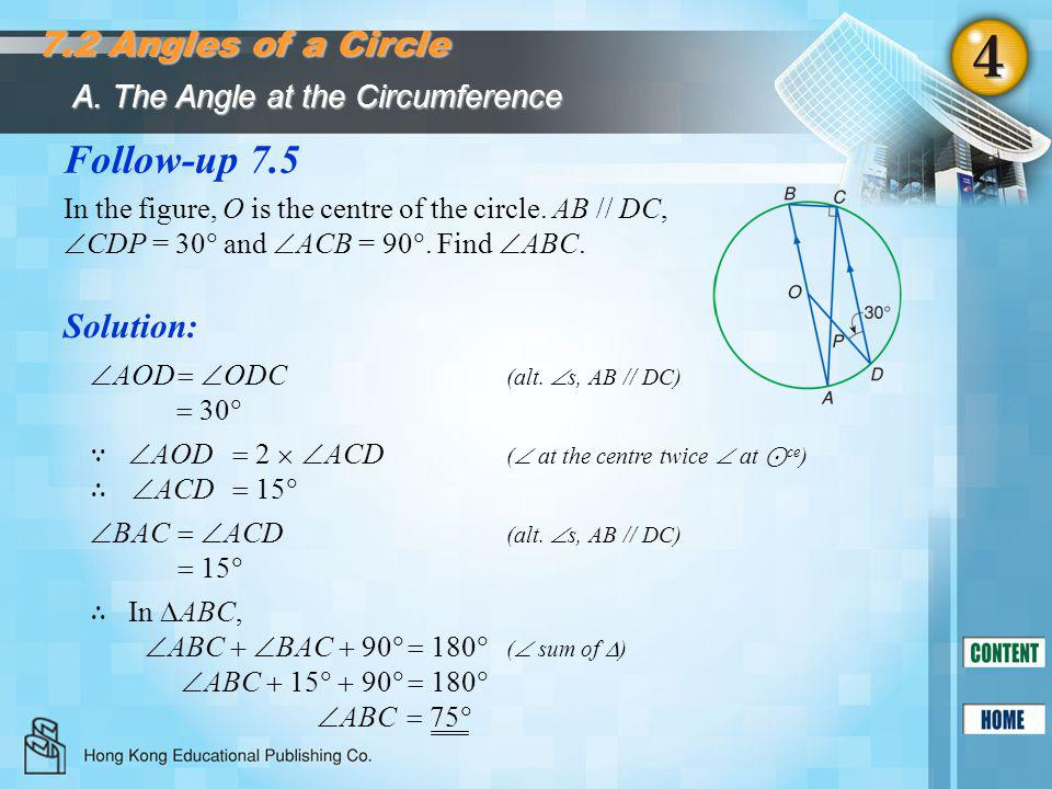Follow-up 7.5 7.2 Angles of a Circle Solution: