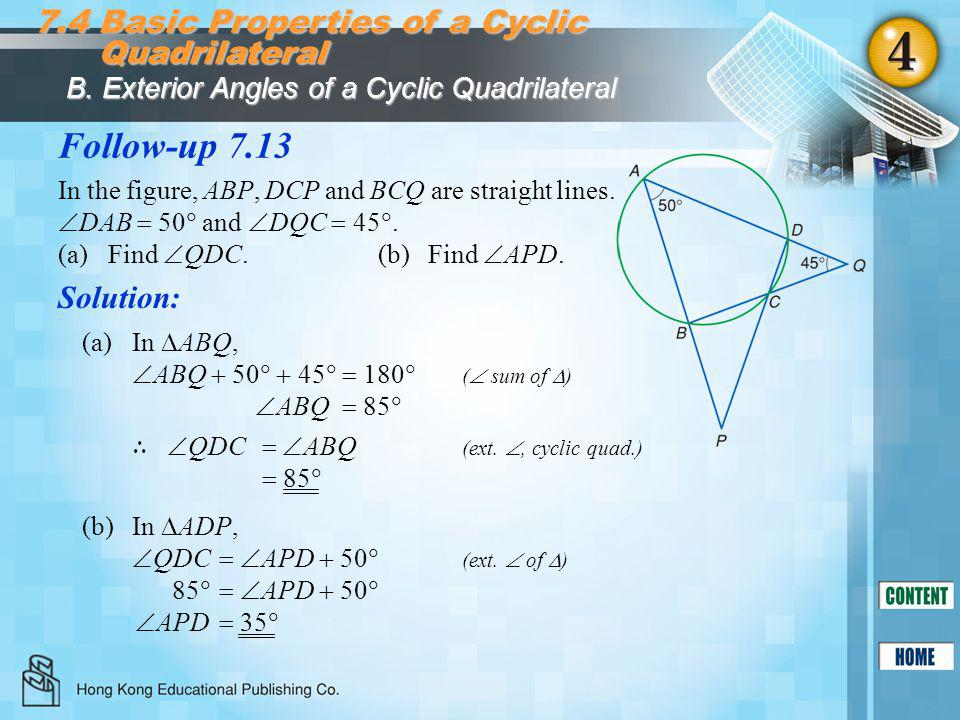 Follow-up 7.13 7.4 Basic Properties of a Cyclic Quadrilateral