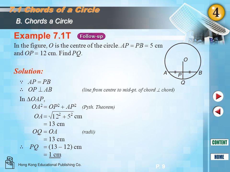 Example 7.1T 7.1 Chords of a Circle Solution: B. Chords a Circle