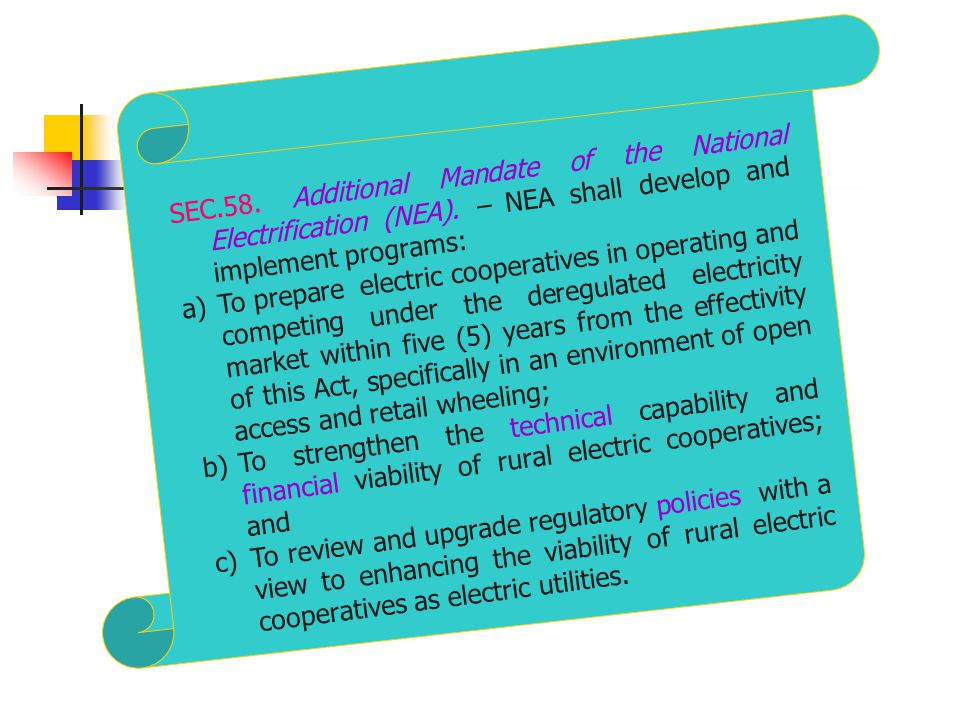 SEC. 58. Additional Mandate of the National Electrification (NEA)