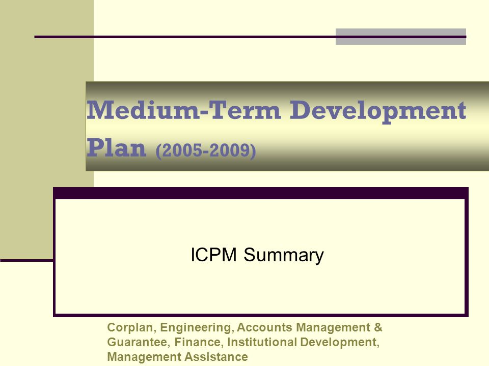 Medium-Term Development Plan (2005-2009)