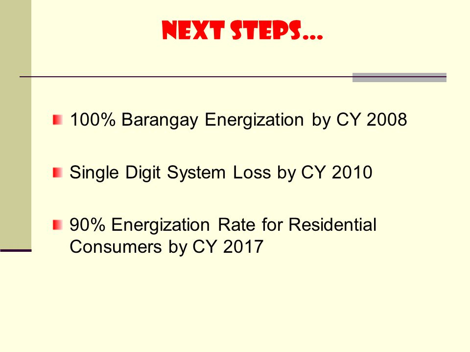 next steps… 100% Barangay Energization by CY 2008