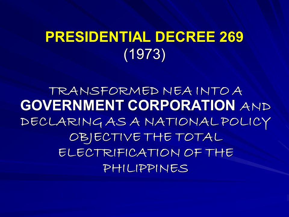 PRESIDENTIAL DECREE 269 (1973)