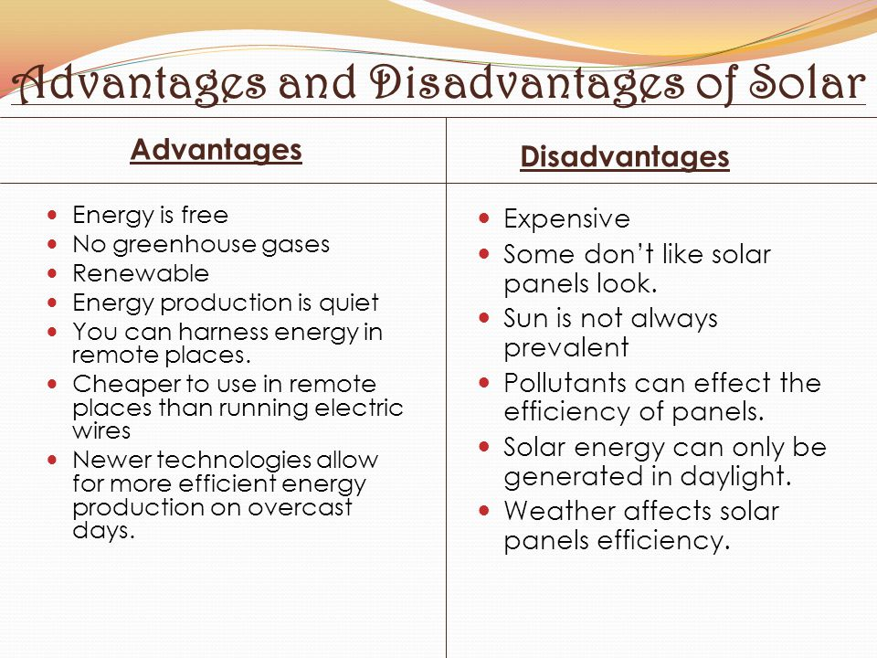 Advantages and Disadvantages of Solar