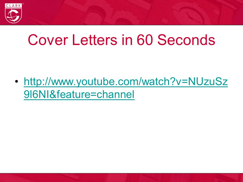 Cover Letters in 60 Seconds