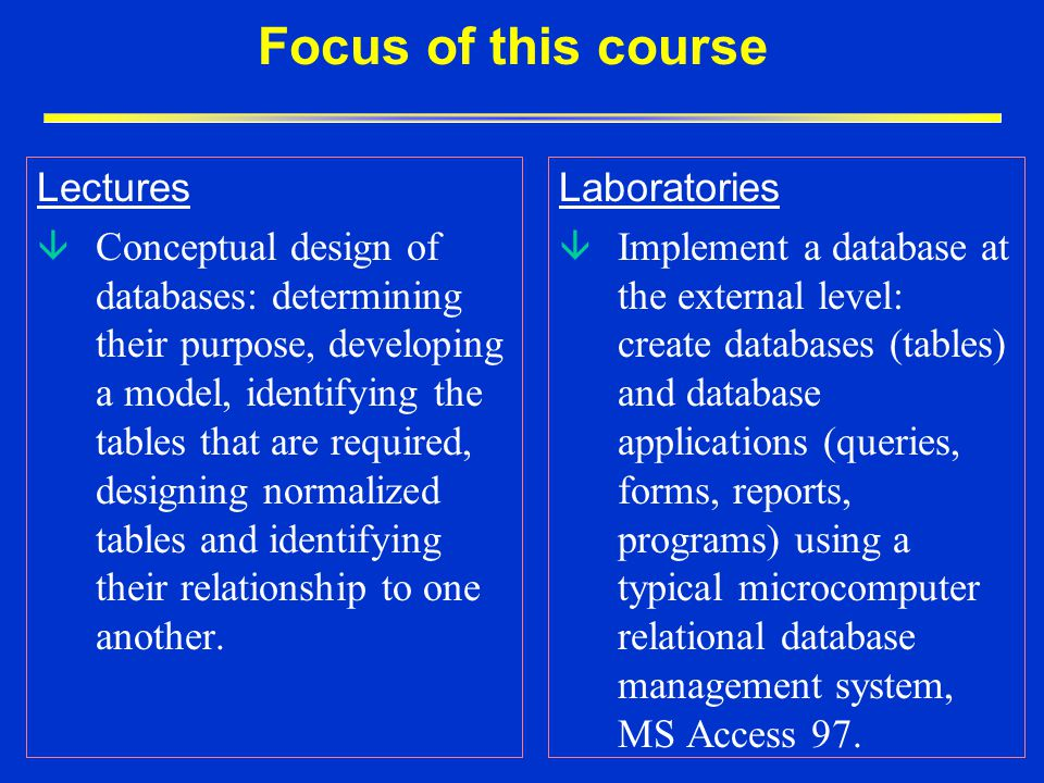 Focus of this course Lectures