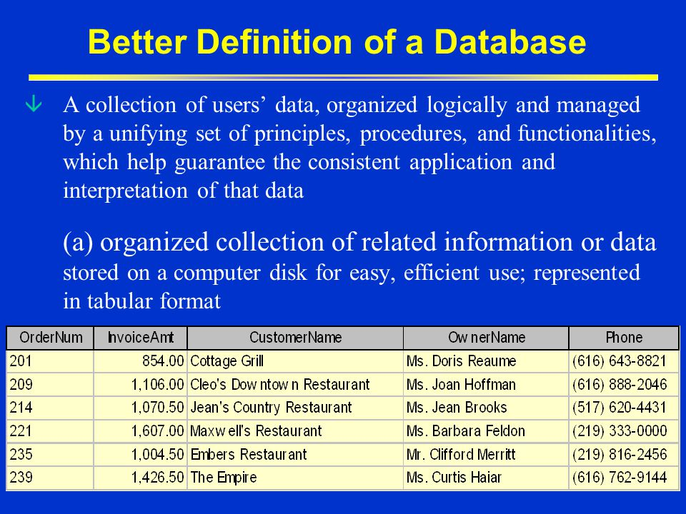 Better Definition of a Database
