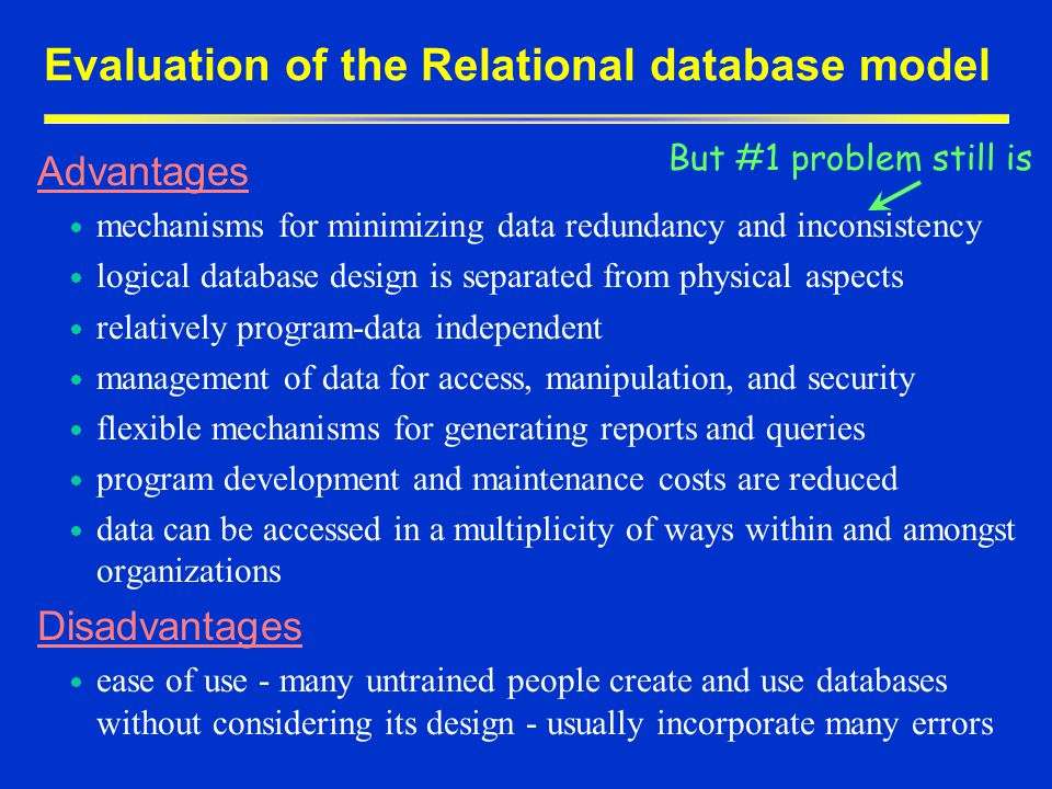 Evaluation of the Relational database model