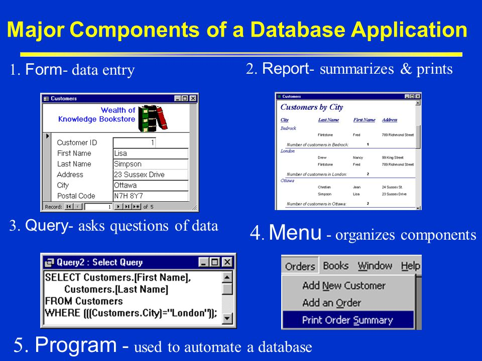 Major Components of a Database Application