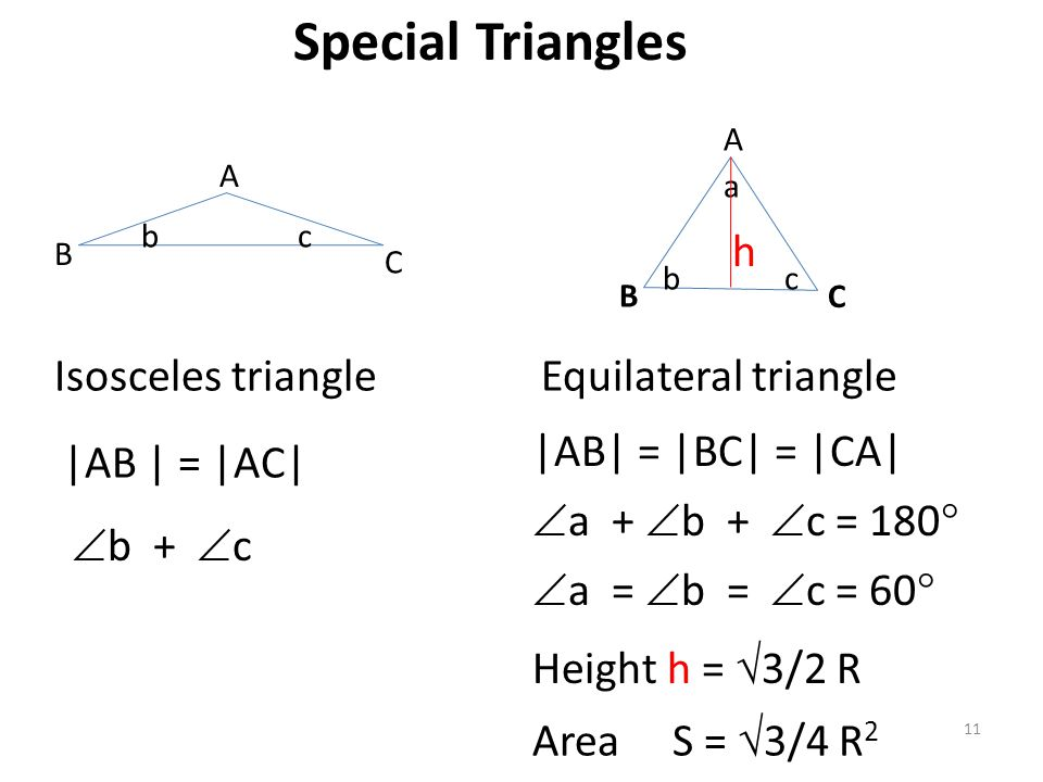 Special Triangles h Isosceles triangle Equilateral triangle