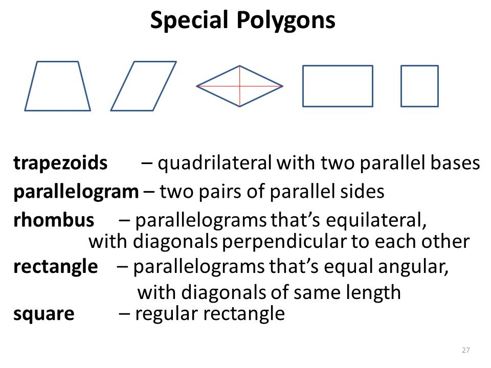 Special Polygons trapezoids – quadrilateral with two parallel bases