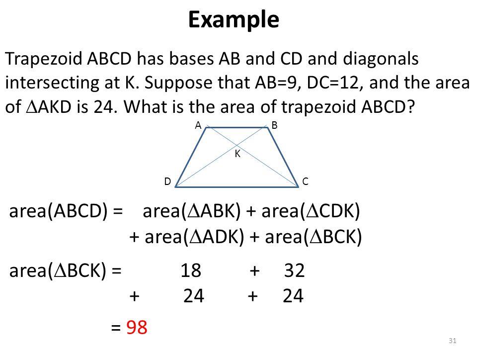 Example area(ABCD) = area(ABK) + area(CDK) + area(ADK) + area(BCK)