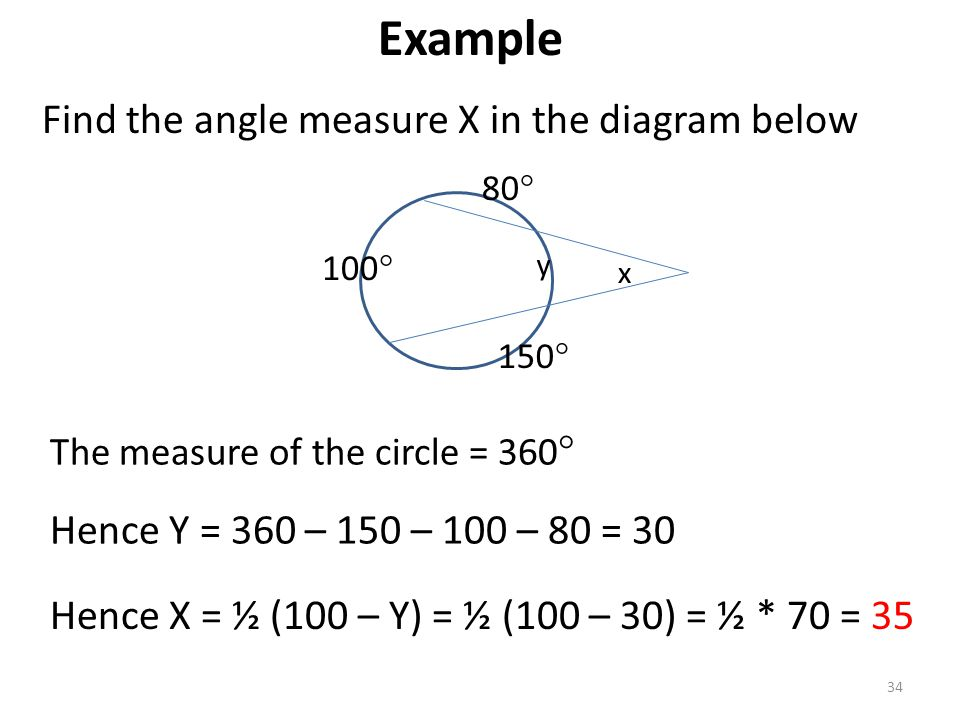 Example Find the angle measure X in the diagram below