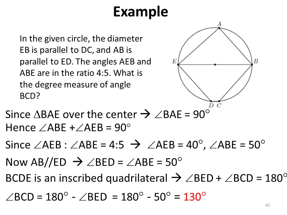 Example Since BAE over the center  BAE = 90 Hence ABE +AEB = 90