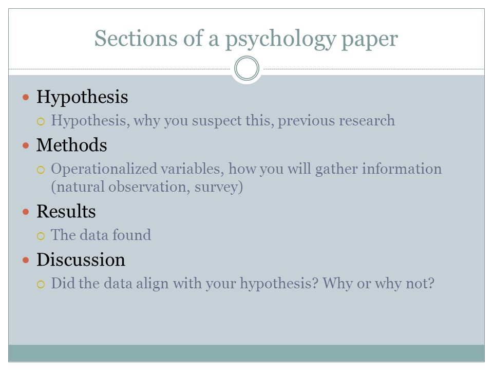 Psychology research paper sections