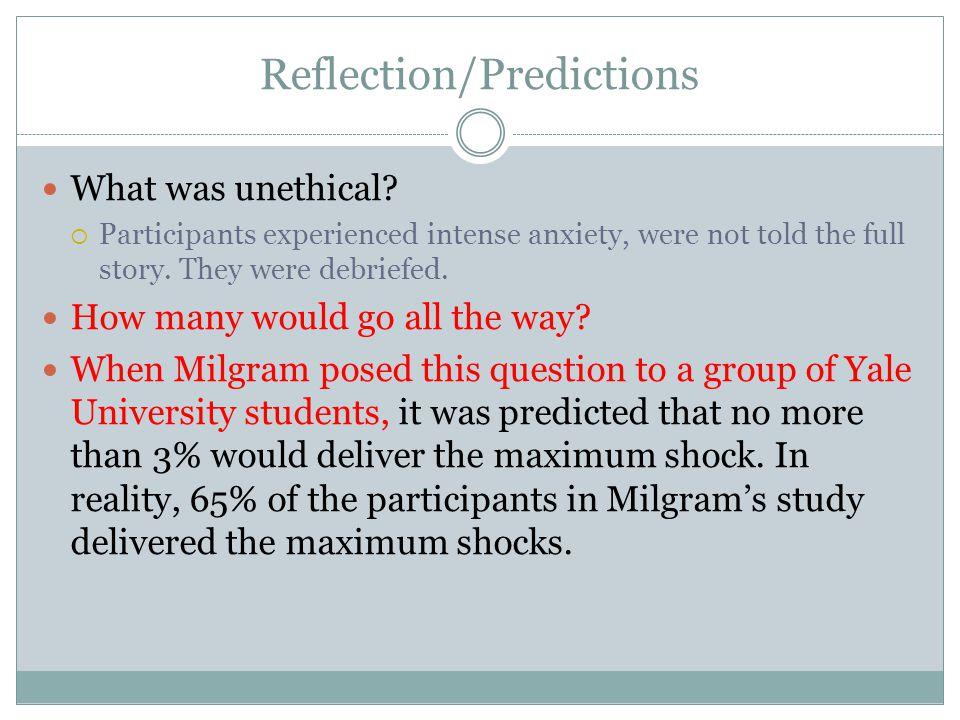 Reflection/Predictions