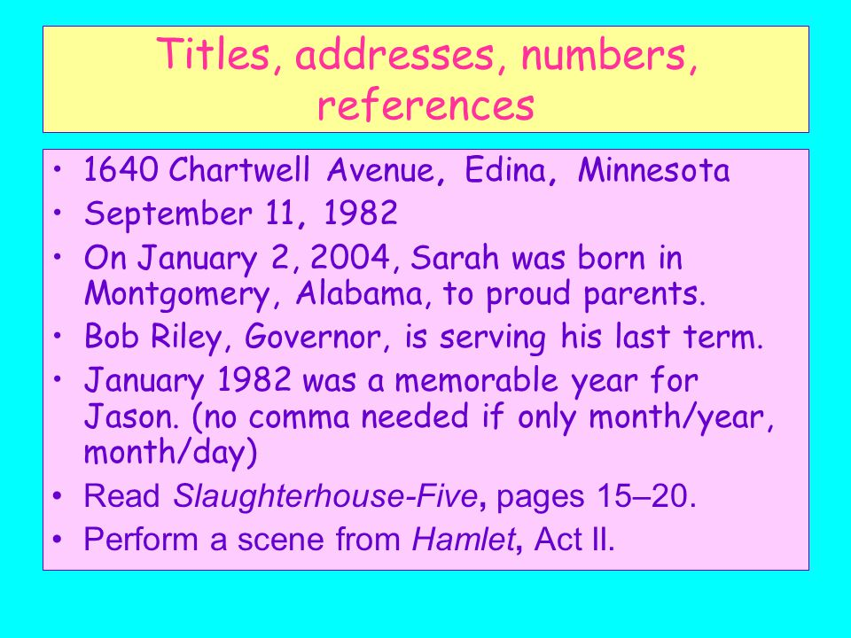 Titles, addresses, numbers, references